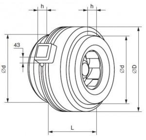 Габаритные размеры вентиляторов канальных круглых КВКр